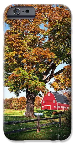 Red Barn iPhone Cases - New England Farm Fall Foliage iPhone Case by Edward Fielding