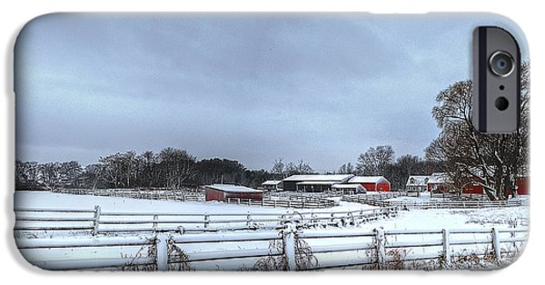 New England Snow Scene iPhone Cases - New England Farm iPhone Case by Rick Mosher