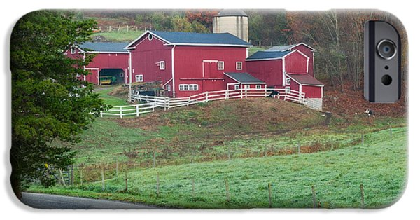 Connecticut Farm iPhone Cases - New England Farm Square iPhone Case by Bill  Wakeley