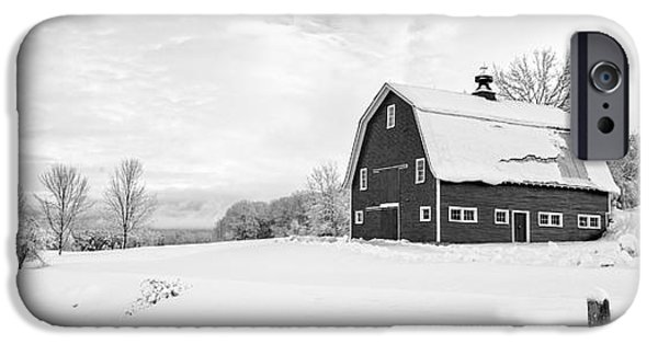 New England Barns iPhone Cases - New England Farm Winter Black and White iPhone Case by Edward Fielding