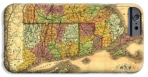 Old Map Digital iPhone Cases - New England iPhone Case by Gary Grayson