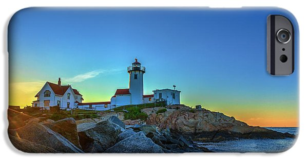New England Lighthouse iPhone Cases - New England Lighthouse Sunrise iPhone Case by Paul Tomlin