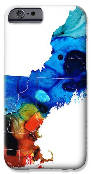New England iPhone Cases - New England - Map by Sharon Cummings iPhone Case by Sharon Cummings