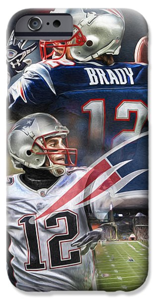Tom Brady iPhone Cases - New England Patriots iPhone Case by Mike Oulton