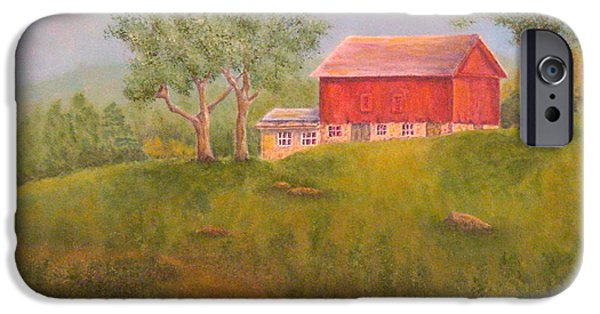 Old Barns iPhone Cases - New England Red Barn At Sunrise iPhone Case by Pamela Allegretto