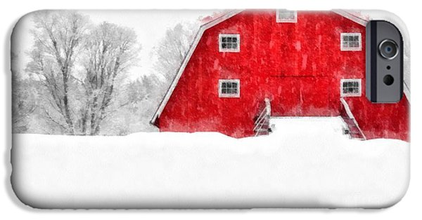 Winter Storm iPhone Cases - New England Red Barn in Winter Snow Storm Watercolor iPhone Case by Edward Fielding