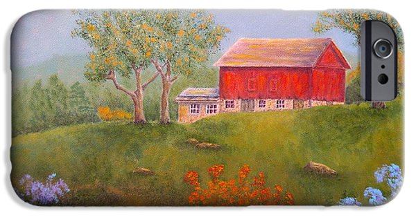 Fruit Tree Paintings iPhone Cases - New England Red Barn Summer iPhone Case by Pamela Allegretto