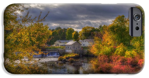 New Hampshire Fall Scenes iPhone Cases - New England Town in Autumn iPhone Case by Joann Vitali