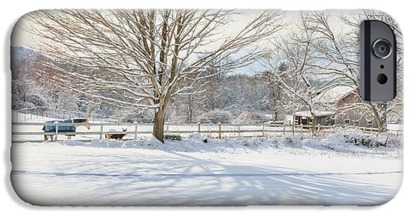 New England Snow Scene iPhone Cases - New England Winter iPhone Case by Bill  Wakeley