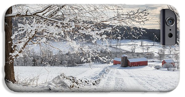 Red Barn In Winter iPhone Cases - New England Winter Farms iPhone Case by Bill  Wakeley
