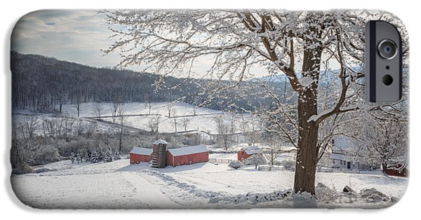 Red Barn In Winter Photographs iPhone Cases - New England Winter Farms Morning iPhone Case by Bill  Wakeley