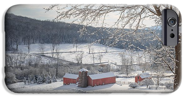 Red Barn In Winter iPhone Cases - New England Winter Farms Morning Square iPhone Case by Bill  Wakeley