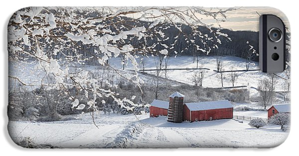 Red Barn In Winter iPhone Cases - New England Winter Farms Square iPhone Case by Bill  Wakeley