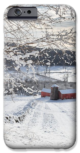 New England Winter Farms Square iPhone Case by Bill  Wakeley