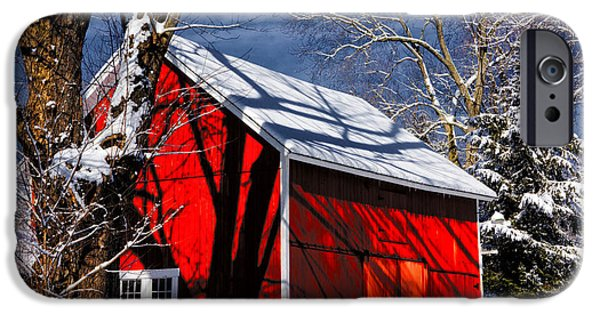 Snow Scene iPhone Cases - New England Winter iPhone Case by Karol  Livote