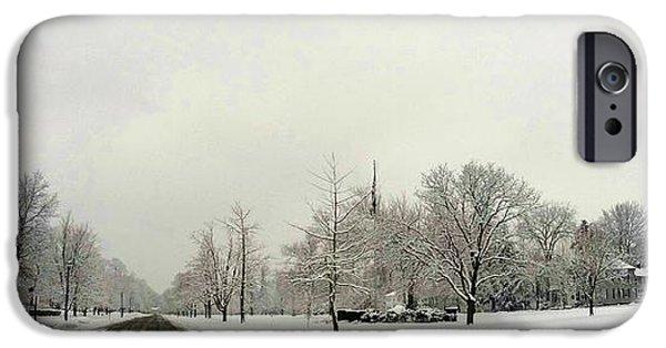 New England Snow Scene iPhone Cases - New England Winter Scene iPhone Case by Erik Kaplan