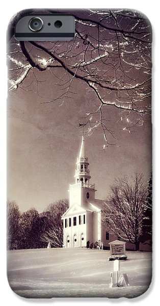 Rural Snow Scenes iPhone Cases - New England Winter Village Scene iPhone Case by Thomas Schoeller