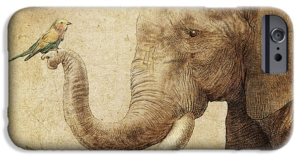 Elephants iPhone Cases - New Friend iPhone Case by Eric Fan