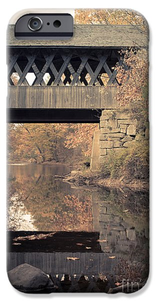 New Hampshire Fall Scenes iPhone Cases - New Hampshire Covered Bridge Autumn iPhone Case by Edward Fielding