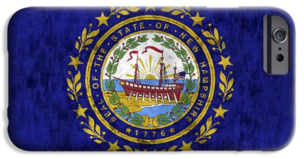 Concord iPhone Cases - New Hampshire Flag iPhone Case by World Art Prints And Designs