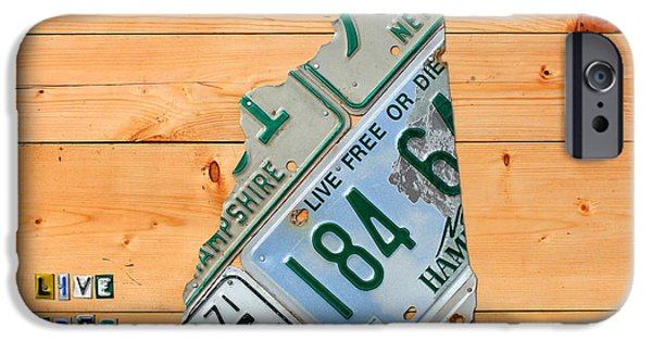 Concord iPhone Cases - New Hampshire License Plate Map Live Free or Die Old Man of the Mountain iPhone Case by Design Turnpike