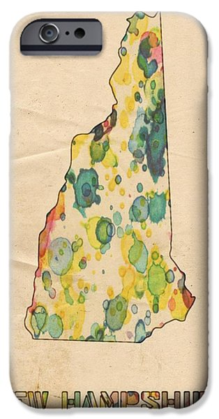 Concord iPhone Cases - New Hampshire Map Vintage Watercolor iPhone Case by Florian Rodarte