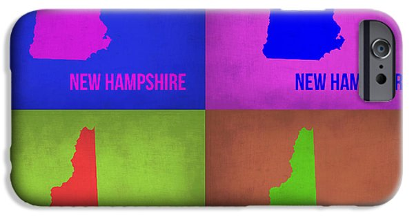 Hampshire iPhone Cases - New Hampshire Pop Art Map 1 iPhone Case by Naxart Studio