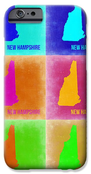 Hampshire iPhone Cases - New Hampshire Pop Art Map 2 iPhone Case by Naxart Studio