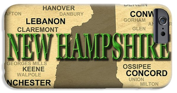 Concord iPhone Cases - New Hampshire State Pride Map Silhouette  iPhone Case by Keith Webber Jr