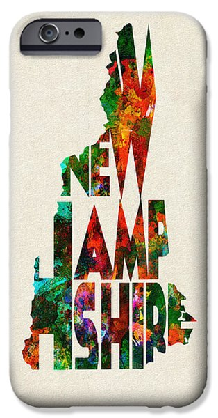 Abstract Map Digital Art iPhone Cases - New Hampshire Typographic Watercolor Map iPhone Case by Ayse Deniz