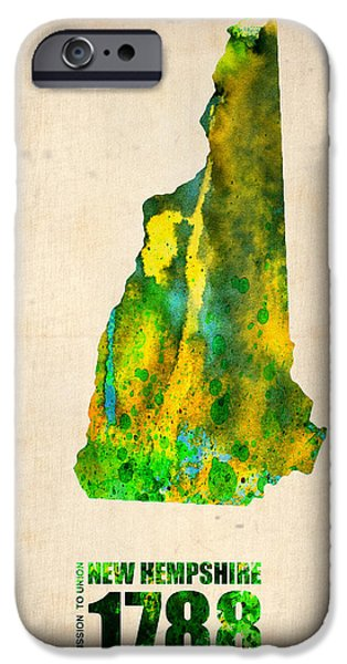 Hampshire iPhone Cases - New Hampshire Watercolor Map iPhone Case by Naxart Studio