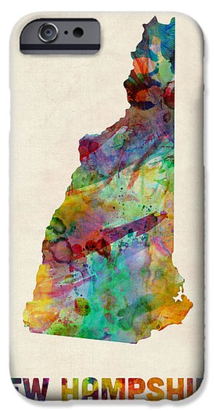 Geography iPhone Cases - New Hampshire Watercolor Map iPhone Case by Michael Tompsett