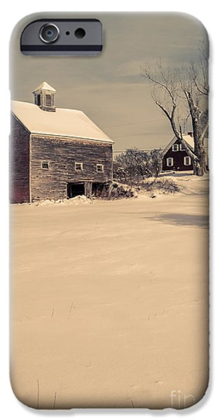 Country Snow iPhone Cases - New Hampshire Winter Farm Scene iPhone Case by Edward Fielding