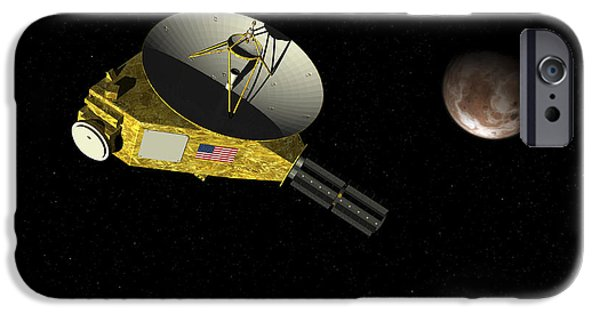 Space-craft iPhone Cases - New Horizons Spacecraft Approaches iPhone Case by Walter Myers