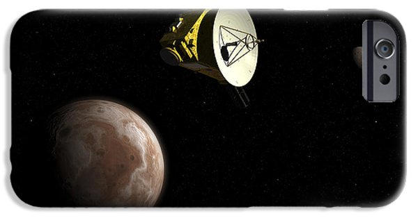 Space-craft iPhone Cases - New Horizons Spacecraft Flies By Dwarf iPhone Case by Walter Myers
