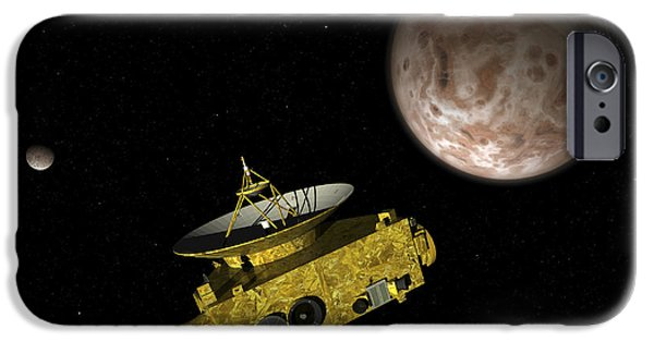 Space-craft iPhone Cases - New Horizons Spacecraft Over Dwarf iPhone Case by Walter Myers