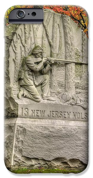 Yankee Division iPhone Cases - New Jersey at Gettysburg - 13th NJ Volunteer Infantry Near Culps Hill Autumn iPhone Case by Michael Mazaika
