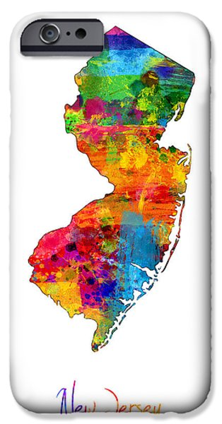New Jersey iPhone Cases - New Jersey Map iPhone Case by Michael Tompsett