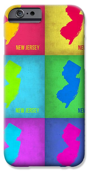 New Jersey iPhone Cases - New Jersey Pop Art Map 1 iPhone Case by Naxart Studio