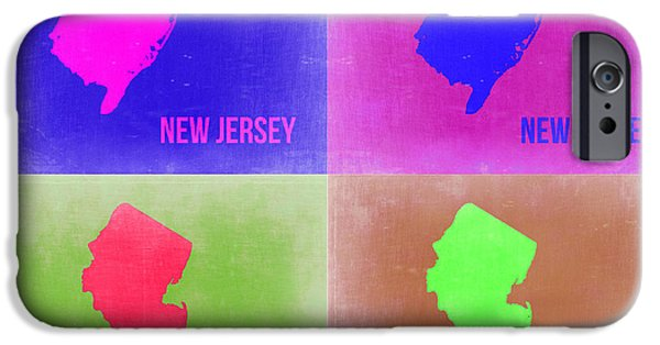 New Jersey iPhone Cases - New Jersey Pop Art Map 2 iPhone Case by Naxart Studio