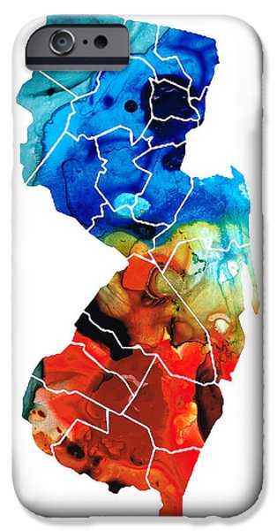 Net Paintings iPhone Cases - New Jersey - State Map by Sharon Cummings iPhone Case by Sharon Cummings