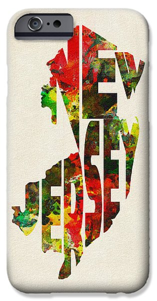 Dirty iPhone Cases - New Jersey Typographic Watercolor Map iPhone Case by Ayse Deniz
