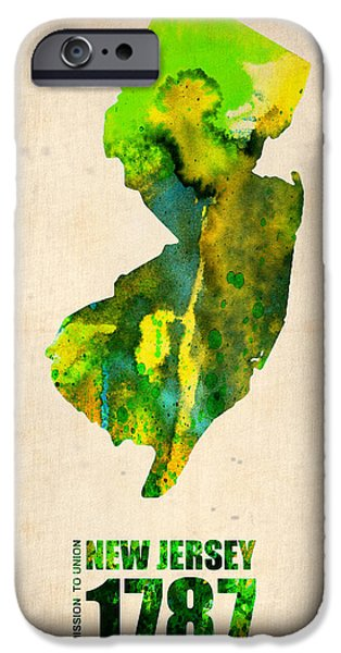 New Jersey iPhone Cases - New Jersey Watercolor Map iPhone Case by Naxart Studio
