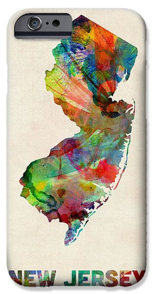 New Jersey iPhone Cases - New Jersey Watercolor Map iPhone Case by Michael Tompsett