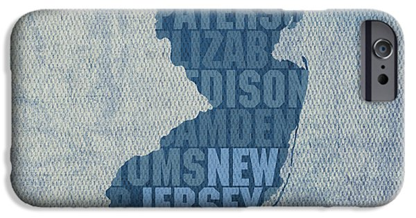 New Jersey iPhone Cases - New Jersey Word Art State Map on Canvas iPhone Case by Design Turnpike