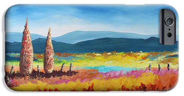 Pallet Knife Paintings iPhone Cases - New Land iPhone Case by Andrew Sanan