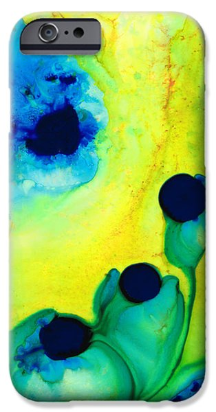 Ultra Modern iPhone Cases - New Life - Green and Blue Art by Sharon Cummings iPhone Case by Sharon Cummings