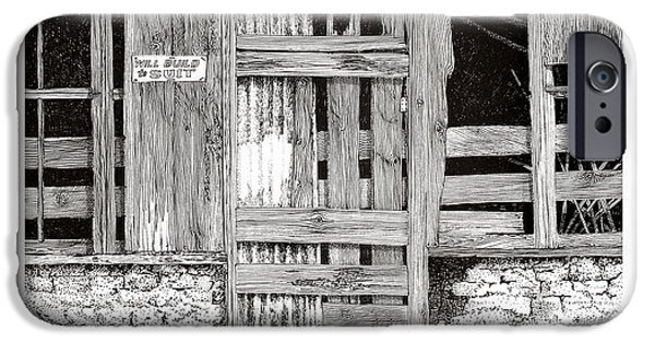 Shed Drawings iPhone Cases - Will build to suit New Mexico Doors iPhone Case by Jack Pumphrey