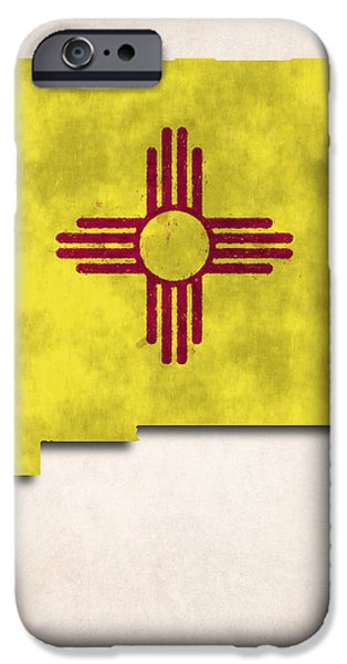 New Mexico Map Art with Flag Design iPhone Case by World Art Prints And Designs