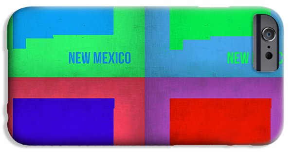 New Mexico Digital iPhone Cases - New Mexico Pop Art Map 1 iPhone Case by Naxart Studio